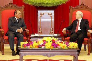 Tổng Bí thư, Chủ tịch nước Nguyễn Phú Trọng tiếp Ðoàn đại biểu cấp cao Bộ An ninh Lào