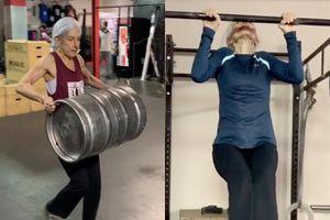 Cụ bà 72 tuổi tập gym ở cường độ cao