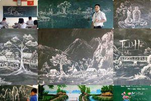 Thanh Hóa: Thầy giáo 8X vẽ tranh bằng phấn trắng trên bảng đen