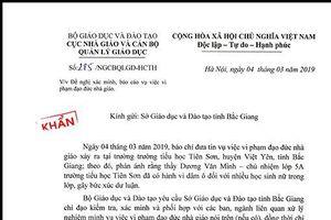Bộ GD&ĐT chỉ đạo khẩn vụ thầy giáo dâm ô nhiều học sinh tại Bắc Giang