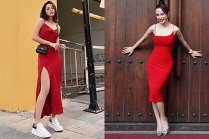 Cùng mặc váy đỏ nhưng Chi Pu và Angela Phương Trinh lại mỗi người một vẻ
