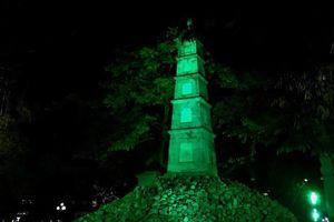 Tháp Bút tại hồ Hoàn Kiếm sẽ được 'nhuộm xanh' cuối tuần này