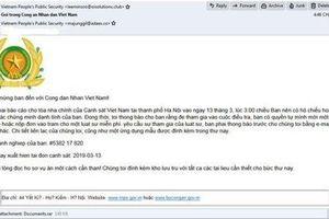 Cảnh báo mã độc phát tán qua thư điện tử giả mạo Bộ Công an
