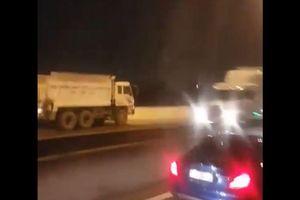 Hoảng hồn cảnh xe ben chạy ngược chiều trên cao tốc ở TPHCM