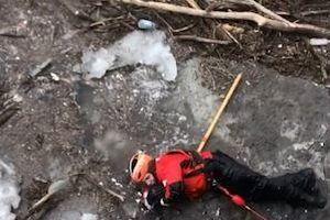 Nhảy xuống sông băng giải cứu chó con mắc kẹt