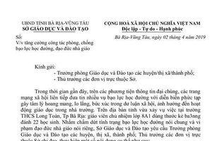 Bà Rịa- Vũng Tàu đề ra nhiệm vụ cụ thể phòng chống bạo lực học đường