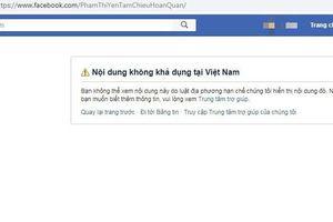Khóa tài khoản Facebook của bà Phạm Thị Yến