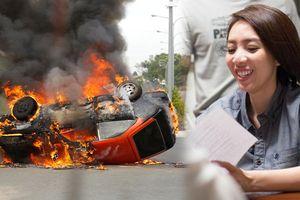 Không dùng kỹ xảo, Thu Trang đã tiêu tốn hàng trăm triệu đồng quay cảnh xe cháy nổ thật trong phim 'Chị Mười Ba'