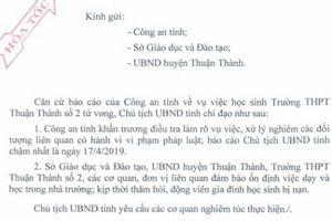 Bắc Ninh: Chủ tịch tỉnh gửi công văn hỏa tốc yêu cầu làm rõ vụ nữ sinh tự tử