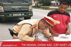 Xử phạt nhiều xe chở vật liệu xây dựng vi phạm ở TX Hồng Lĩnh