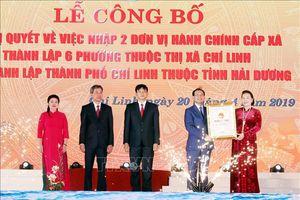 Chủ tịch Quốc hội Nguyễn Thị Kim Ngân dự Lễ công bố Nghị quyết về thành lập thành phố Chí Linh thuộc tỉnh Hải Dương