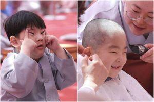 Những chú tiểu đáng yêu trong ngày xuống tóc mừng lễ Phật Đản ở Hàn Quốc