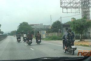 Phản cảm nhóm thanh niên đầu trần đi xe máy, dàn hàng ngang trên QL1A