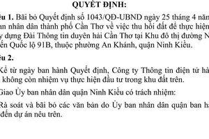 Cần Thơ: Xóa một dự án 12 năm ở quận Ninh Kiều