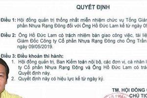 Em trai cựu Thứ trưởng Hồ Thị Kim Thoa rời ghế Tổng Giám đốc Nhựa Rạng Đông