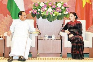 Chủ tịch Quốc hội Nguyễn Thị Kim Ngân tiếp Phó Tổng thống Ấn Ðộ V.Nai-đu