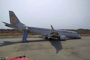 Đứng tim xem máy bay Myanmar hạ cánh bằng mũi