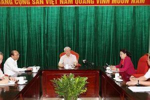 Tổng Bí thư, Chủ tịch nước Nguyễn Phú Trọng họp Lãnh đạo chủ chốt