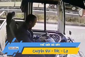 Tài xế xe bus thả tay lái xài điện thoại, gây tai nạn