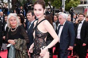 Cộng đồng mạng 'lên án' trang phục xuyên thấu 'gợi dục' của Ngọc Trinh tại LHP Cannes