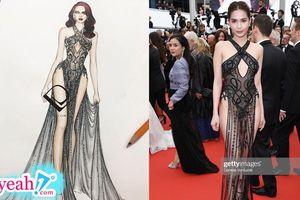 NTK Đỗ Long tung bản vẽ bộ váy táo bạo của Ngọc Trinh tại Cannes 2019: Trên giấy đẹp bao nhiêu ra ngoài đời tệ bấy nhiêu