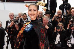 Trương Thị May diện áo dài thêu rồng trên thảm đỏ Cannes 2019