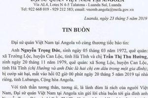 Hai lao động Hà Tĩnh bị cướp sát hại tại Angola