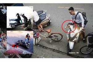 Hiểm họa cho trẻ ngồi trước xe ga còn nổ máy: Thót tim màn văng xuống đường