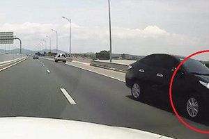 Ô tô con đi ngược chiều kiểu 'giết người' trên cao tốc Hải Phòng - Quảng Ninh