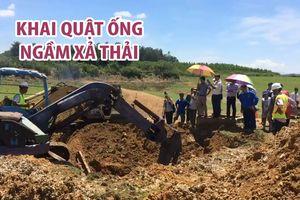 Khai quật ống ngầm xả thải của Công ty TNHH AB Mauri Việt Nam