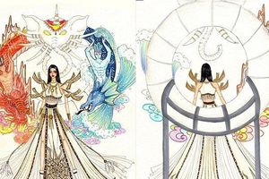 Thiết kế 'Sơn Tinh - Thủy Tinh' cho đại diện Việt Nam tại Hoa hậu Hoàn vũ gây chú ý