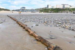 Cát trôi, dây điện trồi lên gây nguy hiểm trên bãi biển