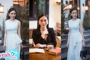 Hoa hậu Thu Hoàng khoe vẻ đẹp dịu dàng, thanh lịch trong những set đồ đen trắng cực giản dị
