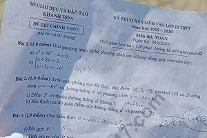 Đáp án đề thi vào lớp 10 môn Toán tỉnh Khánh Hòa năm 2019