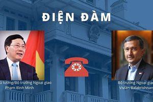 PTT Phạm Bình Minh điện đàm BTNG Singapore về phát biểu của Thủ tướng Lý Hiển Long