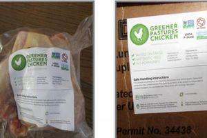 Lượng lớn thịt gà bị thu hồi vì ghi nhãn không chuẩn