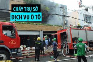 Cháy trụ sở dịch vụ ô tô, người dân hoảng loạn di chuyển tài sản