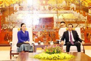 Đoàn đại biểu Thành đoàn Viêng Chăn (Lào) chào xã giao lãnh đạo Thành ủy Hà Nội