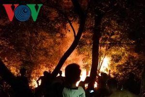 Đám cháy bùng phát trên núi, uy hiếp đền thờ Hoàng đế Quang Trung
