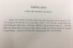 Hà Nội: Công an phường Phú Diễn thông báo tìm chủ chiếc xe bị mất