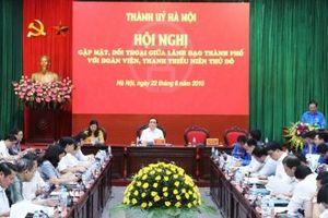 Bí thư Thành ủy Hà Nội Hoàng Trung Hải đối thoại với đoàn viên, thanh thiếu niên Thủ đô