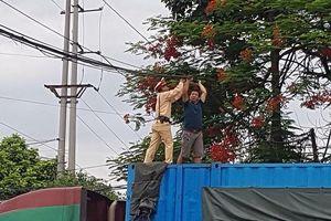 Cảnh sát giao thông kịp thời xử lý nhiều cuộn dây cáp rơi chắn ngang đường