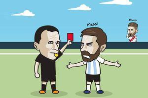 Biếm họa 24h: Messi ngớ người vì thẻ đỏ, Neymar 'hết cửa' về Barca