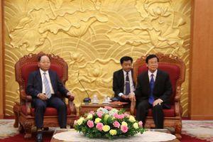 Đồng chí Hà Ban, Ủy viên Trung ương Đảng, Phó Trưởng Ban Tổ chức Trung ương tiếp và làm việc với Đoàn đại biểu Bộ Nội vụ nước Cộng hòa Dân chủ Nhân dân Lào