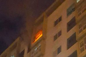 Chung cư bốc cháy ngùn ngụt trong đêm, cư dân tung cửa tháo chạy
