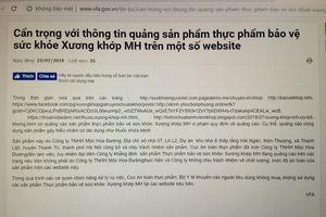 Sản phẩm Xương khớp MH quảng cáo sai công dụng trên một số website
