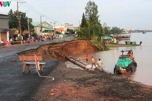 Một đoạn quốc lộ 91 qua An Giang bị sạt lở nghiêm trọng