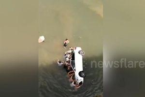 Hồi hộp giải cứu cả gia đình mắc kẹt khi xe lao xuống sông