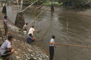 Sau mưa lớn, người Hà Nội rủ nhau ra sông Kim Ngưu đánh bắt cá