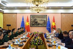 Đại tướng Ngô Xuân Lịch hội kiến với Phó chủ tịch Ủy ban châu Âu